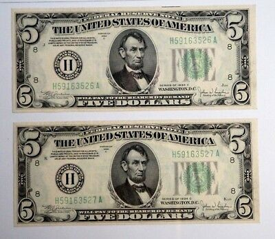 Two 1934 C $5 United States Note UNC Crisp Consecutive Green Seal US Currency