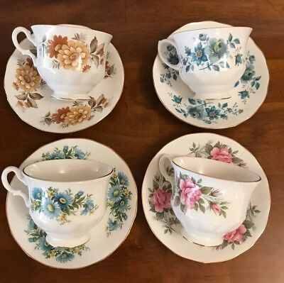 4 Queen Anne Cup And Saucer Sets Excellent Condition 1# Quality England