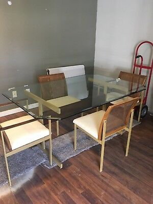 Mid Century Modern Glass Dining Table with 4 Chairs