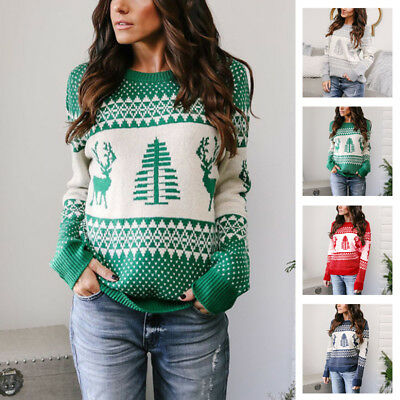 Xmas Women Casual Long Sleeve Knitted Pullover Sweater Knitwear Jumper Tops
