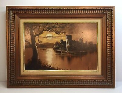 Antique Landscape Oil Painting On Wood ( Signed )