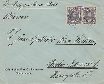 Bolivien: 1914: cover Cochabamba via Buenos Aires to Berlin/Germany