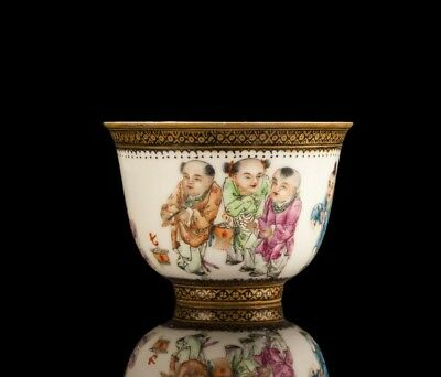 Amazing and Colourful late 19th Century Gilt Enamelled Porcelain Cup - Chinese
