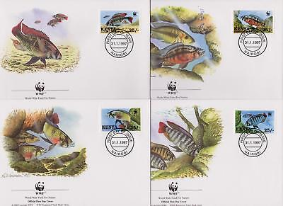 Kenya 1997 WWF - Lake Victoria Cichlid Fish - 4 First Day Covers FDC - (229)