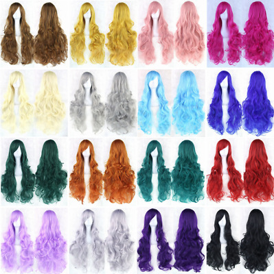Fashion Womens Anime Multicolor Long Curly Wavy Hair Party Cosplay Full Wig 80CM