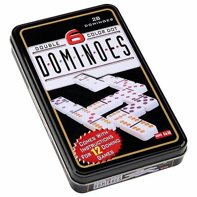 Double 6 six Dominoes with box traditional standard set of 28 tiles travel game