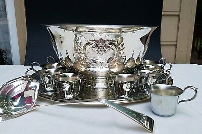 PUNCH BOWL WITH 12 CUPS & LADLE SET Webster Wallace Int Silver STUNNING
