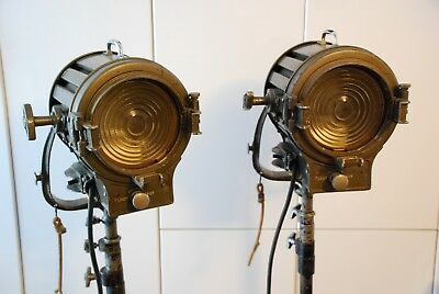 Pair of Vintage Mole Richardson 406 movie lights with original rolling stands