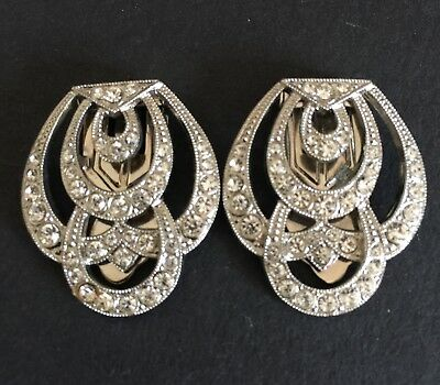Vintage Pair Of Art Deco Dress Clips Still In Original Jewellers Box