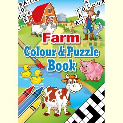 Set of 10 Farm Themed A6 Puzzle and Colouring Books - Childrens Gift Christmas