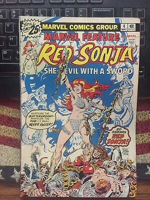 Red Sonja Marvel Feature # 4 1976 Comic Book She-Devil With Sword Frank Thorne