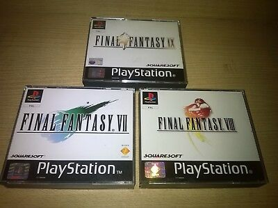PS1 Final Fantasy VII VIII IX Cases And Black Label Inlays Replacements No Discs