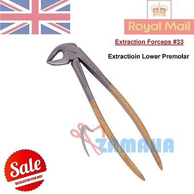 EXTRACTING FORCEPS LOWER PREMOLAR #33, TOOTH EXTRACTING FORCEPS CE- Gold Paint