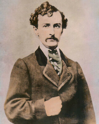 """JOHN WILKES BOOTH ASSASSINATED ABRAHAM LINCOLN 8x10"""" HAND COLOR TINTED PHOTO"""