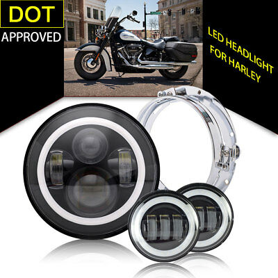 """7"""" LED Projector Daymaker Headlight+Passing Lights+Ring Mount for Harley"""