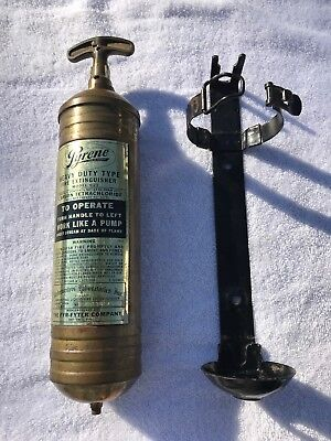 Vintage Pyrene Model C21 Fire Extinguisher With Bracket.  Boat, Car, Motorcycle
