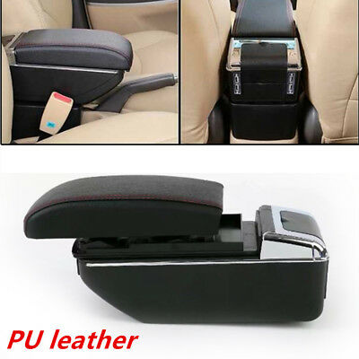 7 USB Rechargeable Style Car Central Container Armrest Box Storage w/Light Novel
