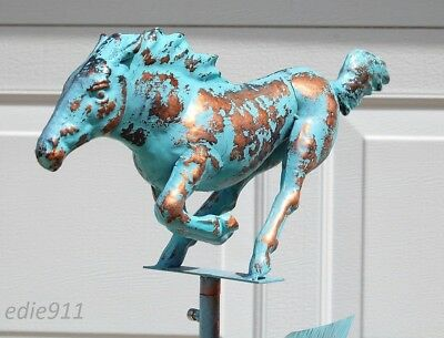 RACING GALLOPING HORSE Weathervane AGED COPPER PATINA FINISH Handcrafted 3D NEW