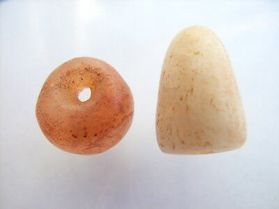 2 Ancient Neolithic Carnelian, Quartz Amulets, Stone Age, VERY RARE !!