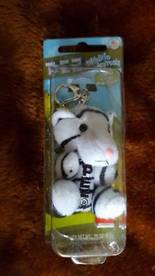 Pez Wildlife Animals Clip On Candy Dispenser, Plush White Tiger, Key Ring Chain