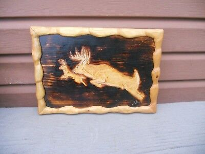Beautiful Wood Hand Carved Deer Buck Framed Picture Hunting Cabin Rustic Decor
