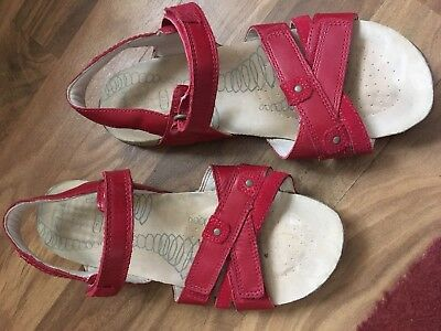 Clarks Red Sandals Size 4 With Velcro Closures