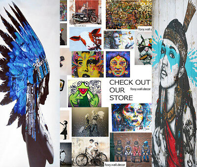 200cm Super Size Print Indian Feather Native American street art painting canvas