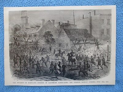 1885 Civil War Print - Citizens of Baltimore Barricading Streets From Invasion