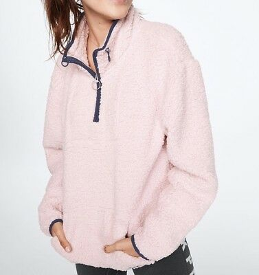 97f19dc82ce1f VICTORIA SECRET PINK SHERPA SWEATER QUARTER ZIP Light Pink EXTRA SMALL - NEW