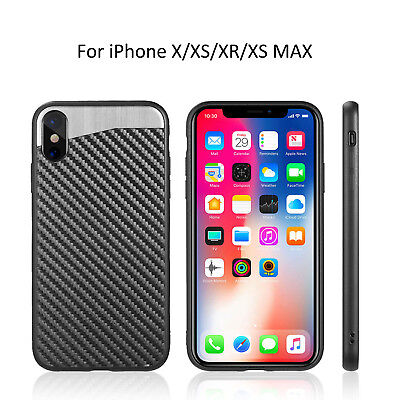 Magnetic Back Plate Carbon Fiber Rubber Case Cover For iPhone X/XS/XR/XS MAX