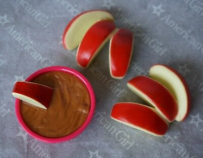 """American Girl 18"""" doll APPLE SLICES & PEANUT BUTTER from FUN & GAMES set NEW!"""