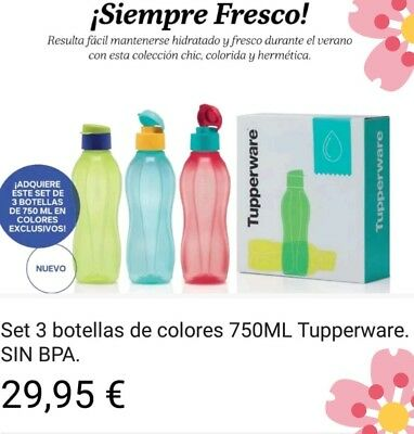 Juego 3 botellas 750 mi Tupperware
