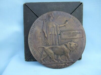 Vintage Military Bronze Death Plaque, Sidney Arthur Wright.