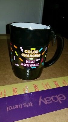 Dunkin Donuts Ceramic 16 oz. Coffee Mug MUST SEE BLACK (COLOR CHANGING) HEAT ACT