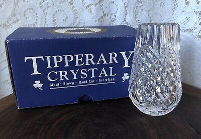 Tipperary Crystal Bud Vase 'Bomb' Vase Mouth Blown Boxed