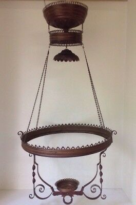 Antique Fancy Brass Hanging Library Oil Lamp Fixture Frame