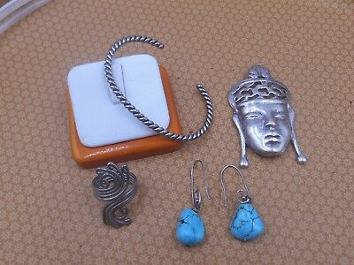 Estate Find  Lot Sterling Jewelry Unique Ethnic Lg Pendant Cuff Ring Turquoise