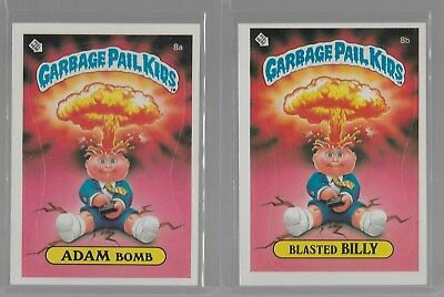 1985 Topps Garbage Pail Kids 1st Series 8A 8B ADAM BOMB Blasted Billy Glossy NM