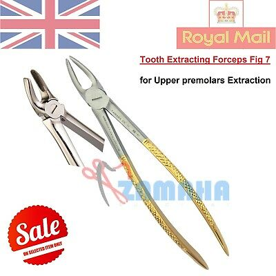 Dental Extraction Forceps #7-Upper Premolars Extraction Forceps-Gold Handle CE
