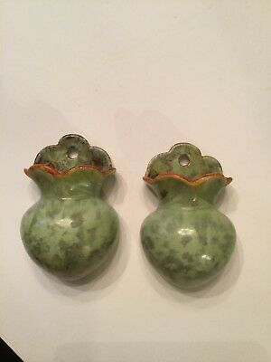 Pair Of Vintage Green Pottery German Plant Sconces