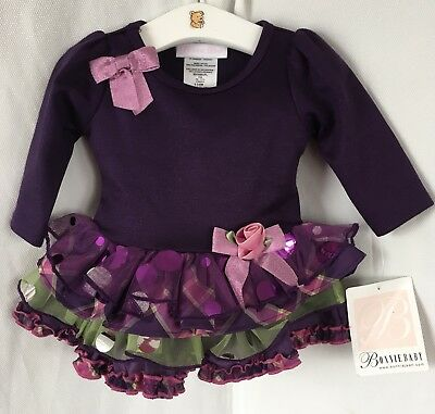 NEW Bonnie Jeans Purple Shimmer Ruffle Tired Hem Dress & Pants Aged 3-6 Months