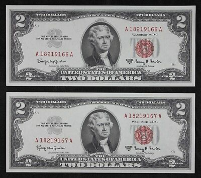 Two Consecutive $2 1963A Gem CU Red Seal US Notes A18219166 & 67A Two $ FREESHIP