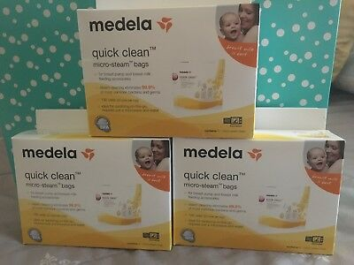 Lot of 3 New Boxes of Medela Quick Clean Micro-Steam Bags 5 Bags per Box