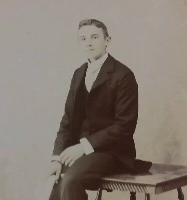 Vintage Old 1890's Cabinet Photo of Handsome Young Man from KALISPELL MONTANA