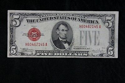 $5 1928E Large Red Seal US Note H60462145A Five Dollar, Series E, FREE SHIPPING
