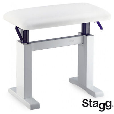 Stagg PBH-780-WHP-SWH White Hydraulic Piano Bench w/ Fireproof Velvet Top