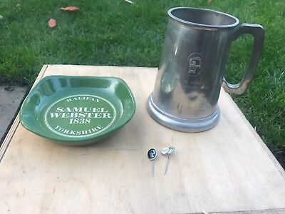 Webster's Brewery Halifax, Ashtray By Wade, Pewter Tankard & Pin Badges.