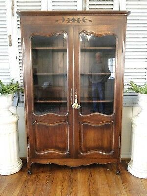 Antique French Country Bookcase Curio Carved Oak Display Cabinet Adj. Shelves