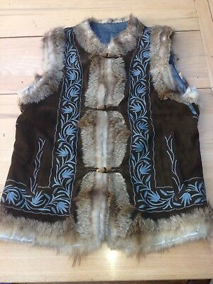 Vintage 70's Waistcoat 12-14 embroidered real suede Rabbit fur warm hippy boho