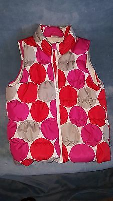 Crazy 8 large 10/12 girl's puffy pink/red/grey polka dot vest lined with fleece